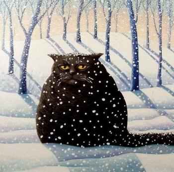 Чорний кіт на білому снігу