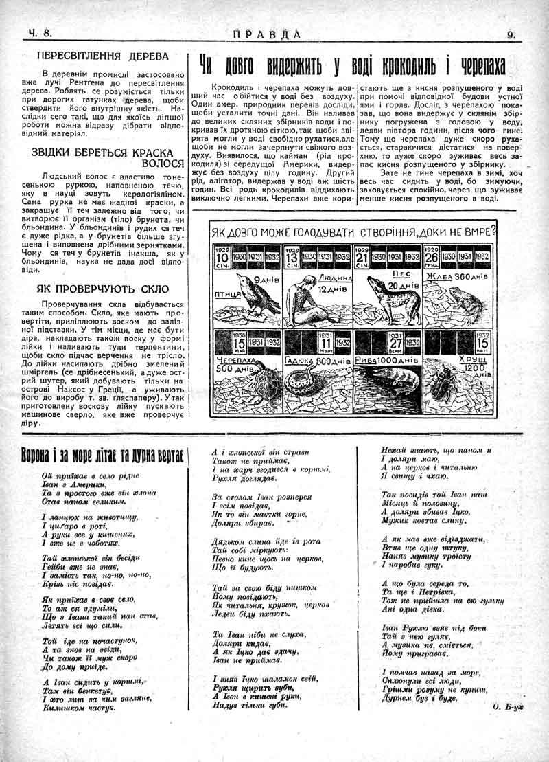 Лютий 1930: Чи довго витримає у воді крокодил і черепаха.