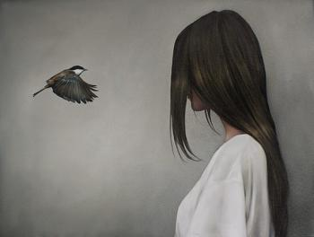 Пташка під зливою