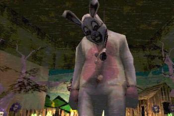 Мужик в одежі кролика